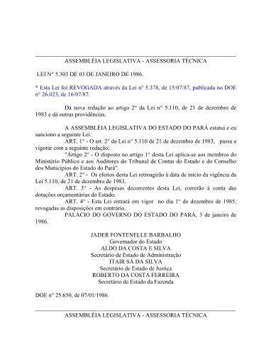 assessoria técnica lei n° 5.30 - Assembléia Legislativa do Estado do ...
