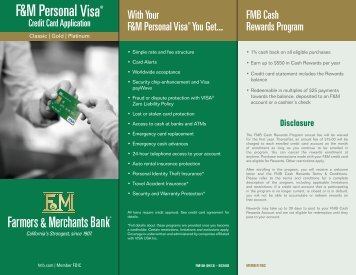 Download a Visa credit card application - Farmers & Merchants Bank