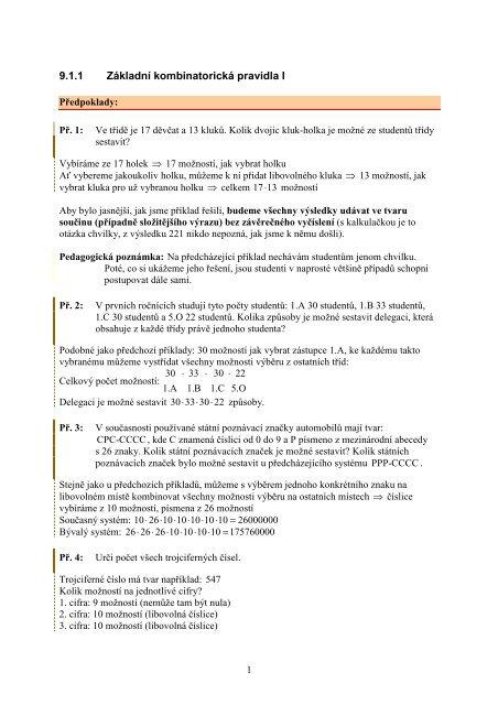 9.1.1 Základní kombinatorická pravidla I