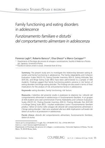 Family functioning and eating disorders in adolescence ... - Lumsa