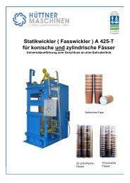 Statikwickler ( Fasswickler ) A 425-T für ... - Hüttner Maschinenfabrik