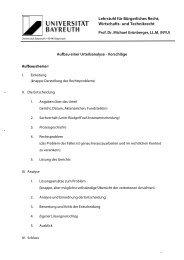 Aufbau einer Urteilsanalyse - Lehrstuhl für Bürgerliches Recht ...