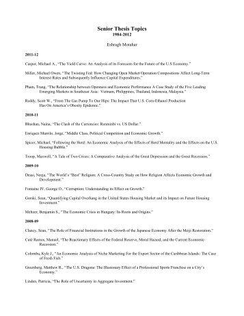 senior paper topics