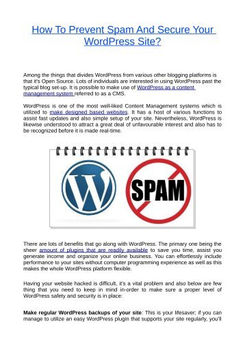 How To Prevent Spam And Secure Your WordPress Site?