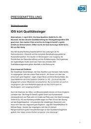 IDS kürt Qualitätssieger - IDS Logistik GmbH