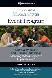 Event Program - Duke Center for Spirituality, Theology, and Health