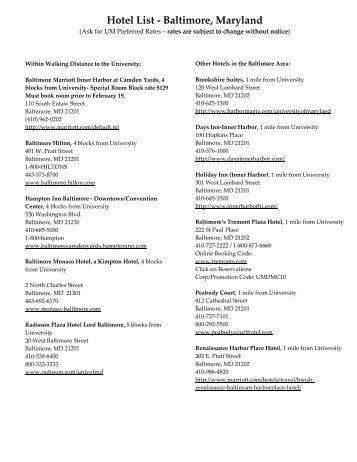 Hotel List - Baltimore, Maryland - Pepperdine University School of Law