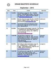 grand master's schedule - Grand Lodge of Colorado