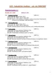 SZZ - bakalářské studium – ak. rok 2008/2009 - Fakulta životního ...