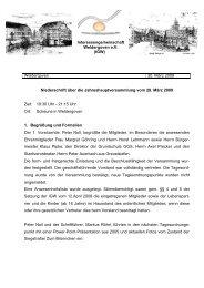 Protokoll der Jahreshauptversammlung 2009 - Weldergoven