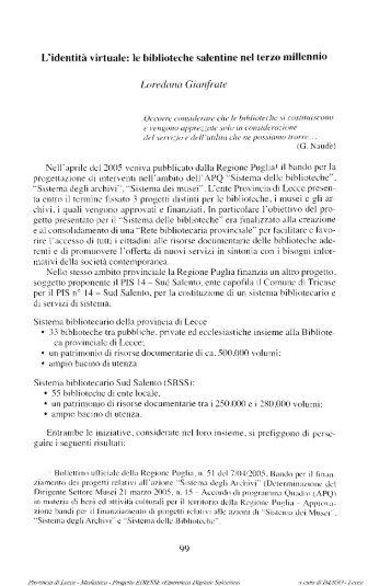 L'identità virtuale: le biblioteche salentine nel terzo ... - culturaservizi.it