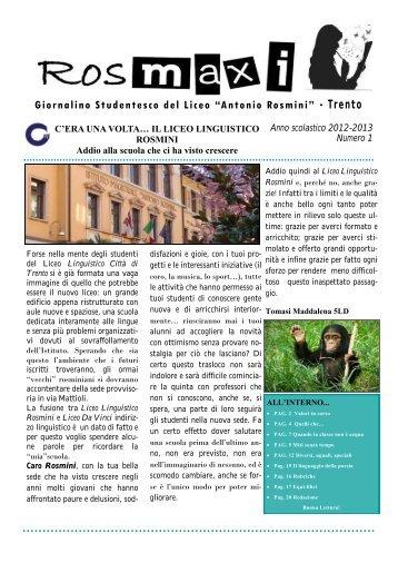 """Giornalino Studentesco del Liceo """"Antonio Rosmini ... - A. Rosmini"""