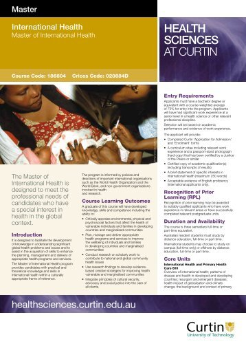 HEALTH SCIENCES AT CURTIN - Health Sciences - Curtin University