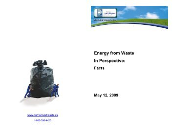 Energy from Waste In Perspective: - Durham York Energy Centre
