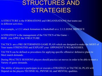 STRUCTURES AND STRATEGIES - All Saints Secondary School