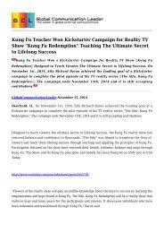 Kung Fu Teacher Won Kickstarter Campaign for Reality TV Show