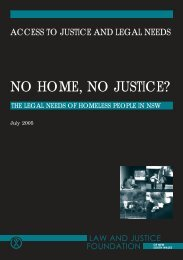 NO HOME, NO JUSTICE? - Law and Justice Foundation