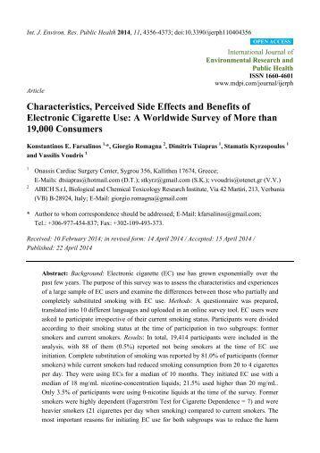 Estudio Mundial de más de 19.000 consumidores de eCigs por el Dr. Farsalinos