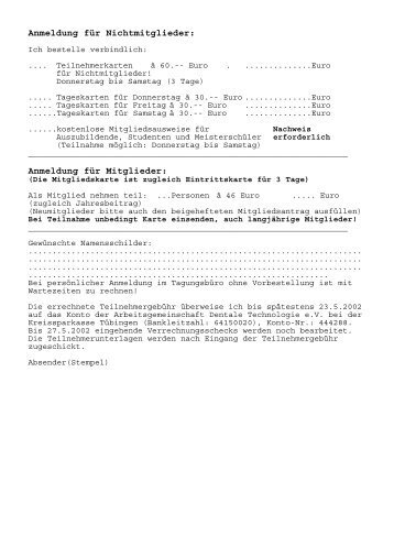 Anmeldung für Nichtmitglieder: - Arbeitsgemeinschaft Dentale ...