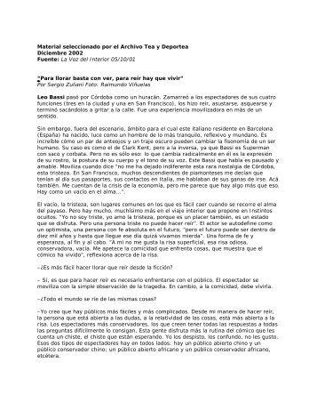 Fuente: La Voz del Interior 05/10/01 - Winisisonline.com.ar