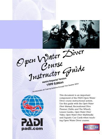 Open Water Diver Course Instructor Guide - Scuba Resorts Bali