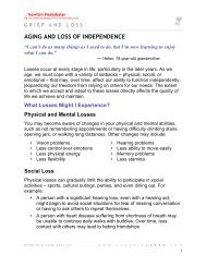 AGING AND LOSS OF INDEPENDENCE - Cornell CARES