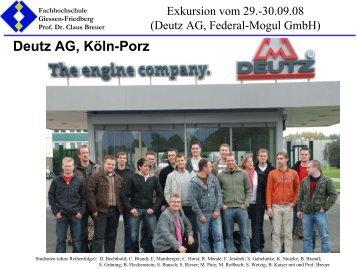 Deutz AG; Köln-Porz (Motorenentwicklung und Montage)) sowie ...