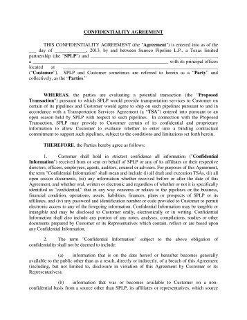 Template for logistics agreement man confidentiality agreement this sunoco logistics platinumwayz