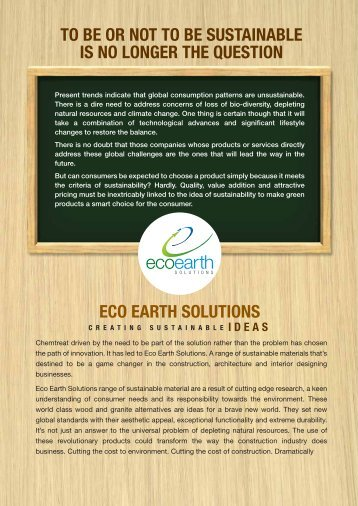 eco earth solutions to be or not to be sustainable is ... - Vcsdata.com