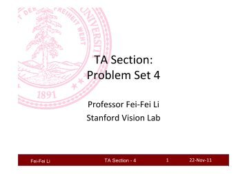 TA Section: Problem Set 4 - Stanford Vision Lab
