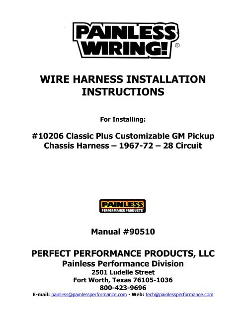 painless wiring harness and chassis wire harness installation instructions painless wiring  wire harness installation instructions