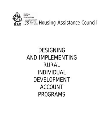 Designing and Implementing Rural Individual Development Account ...