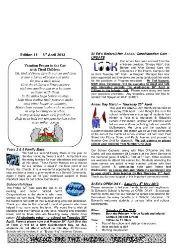 Newsletter Edition 11 2013 - St Edwards Primary School