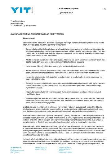 Alueurakoinnin ja asiakaspalvelun kehittäminen - Kuntatekniikka.Fi