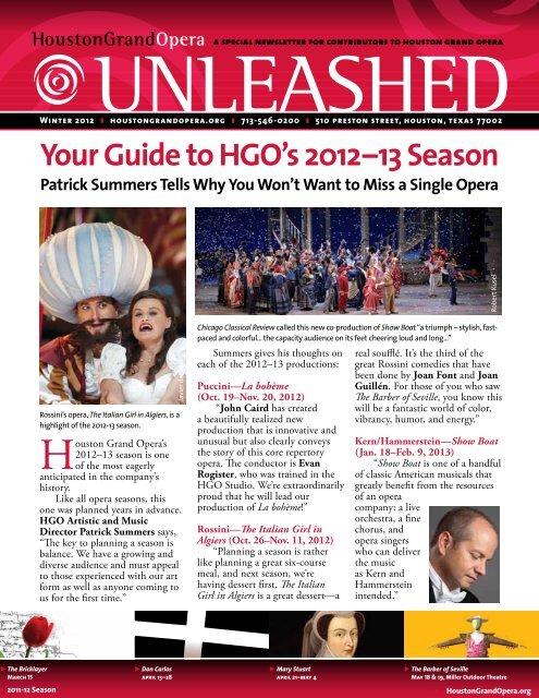 Your Guide to HGO's 2012–13 Season - Houston Grand Opera