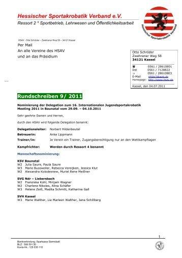 Rundschreiben 9/ 2011 - Hessischer Sportakrobatik Verband