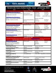 Horaire des Cours Action Scuba : hiver - printemps 2013