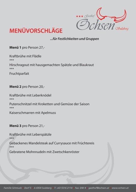 MENÜVORSCHLÄGE - Gasthof Ochsen
