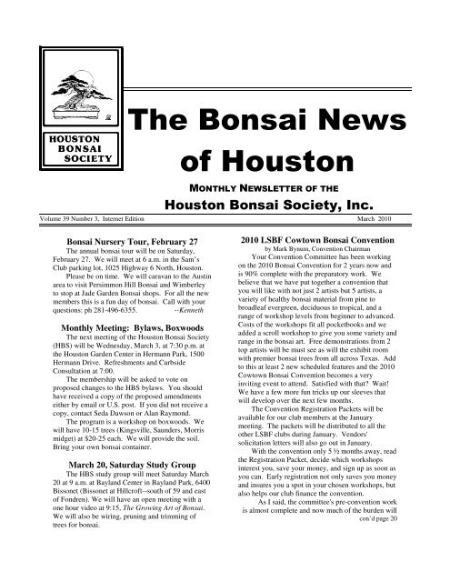 The Bonsai News Of Houston Houston Bonsai Society