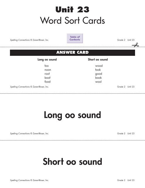 Word Sort Cards Long oo sound Short oo sound
