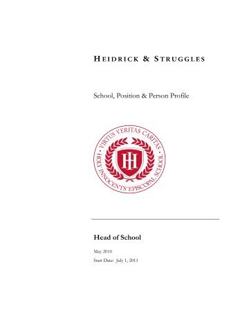 School, Position & Person Profile Head of School - Holy Innocents ...