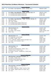2012 PokerStars Caribbean Adventure - Tournament Schedule