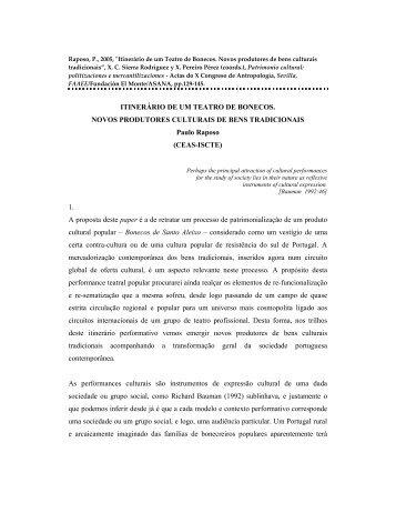 ITINERÁRIO DE UM TEATRO DE BONECOS. NOVOS ...