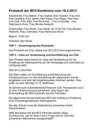 Protokoll der BFZ-Konferenz vom 16.4.2013 - Alfred-Wegener-Schule