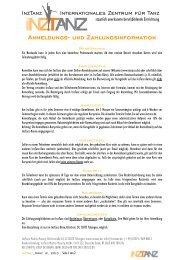 Anmeldung - InzTanz, Internationales Zentrum für Tanz