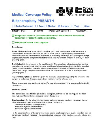 Medical Coverage Policy Blepharoplasty-PREAUTH