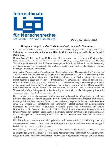 Berlin, 19. Februar 2012 Dringender Appell an das Deutsche und ...