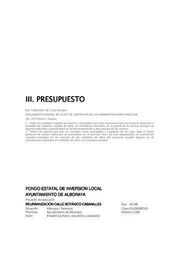 III. PRESUPUESTO PRESUPUESTO PRESUPUESTO - Alboraya
