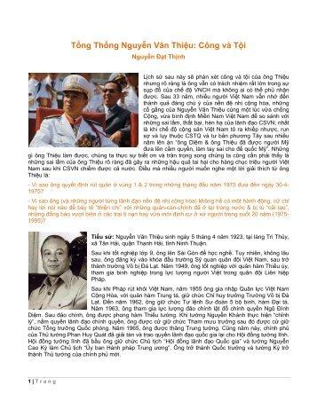 Tổng Thống Nguyễn Văn Thiệu: Công và Tội - Trang Nhà