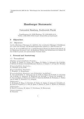2000 - Hamburger Sternwarte - Universität Hamburg